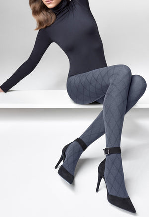 Grace 01 Diamond Patterned Opaque Tights by Marilyn in grey