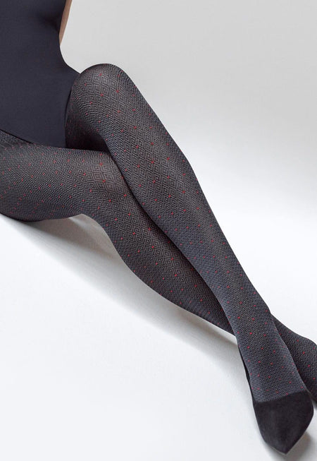 Christy Seams & Bows Patterned Sheer Tights by Fiore