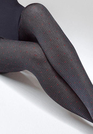 Grace 04 Fine Diamond & Red Dots Patterned Opaque Tights by Marilyn