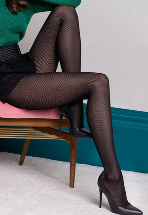 Grace Fine Herringbone Patterned Lace Tights by Gabriella