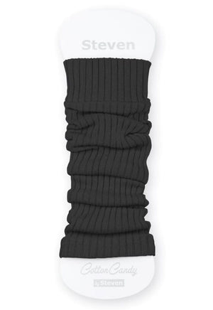 Ribbed Cotton Kids' Leg Warmers by Steven in dark grey