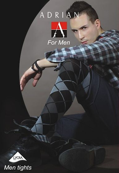 Grating Argyle Patterned Tights for Men by Adrian