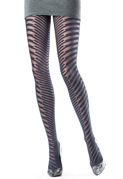 Gritty Solid & Sheer Stripe Patterned Tights by Oroblu