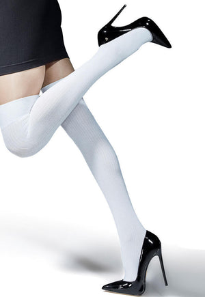 Hanka Ribbed Opaque Over-Knee Socks by Knittex in white