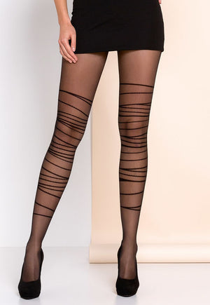 Harper Wraparound Strings Patterned Sheer Tights by Gabriella in black
