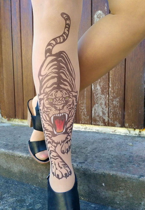 Hear Me Roar Tattoo Printed Sheer Tights/Pantyhose
