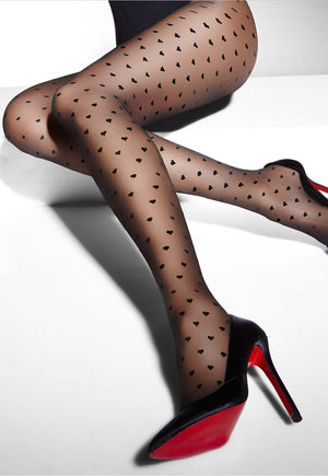 Hearts Patterned Sheer Tights by Adrian in black