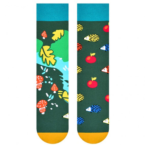 Hedgehog & Forest Odd Patterned Socks by More