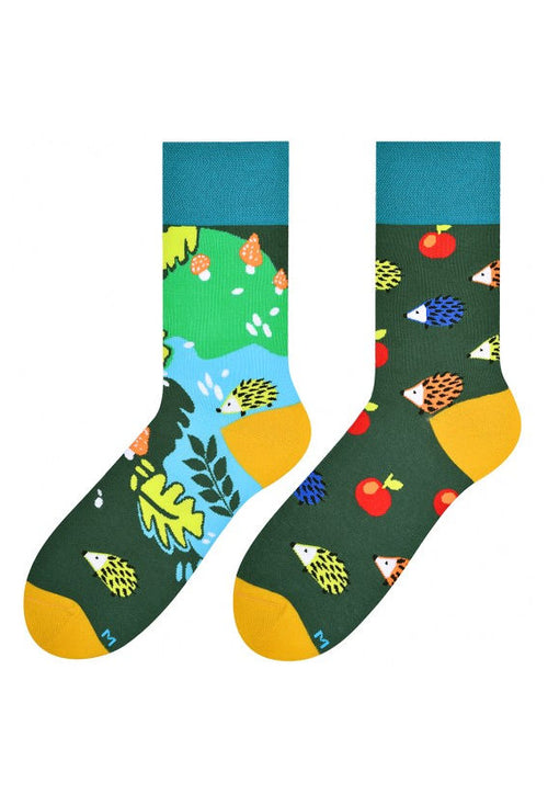 Hedgehog & Forest Patterned Socks by More