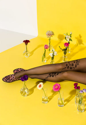 Helen Floral Tattoo Patterned Sheer Tights by Gabriella in black