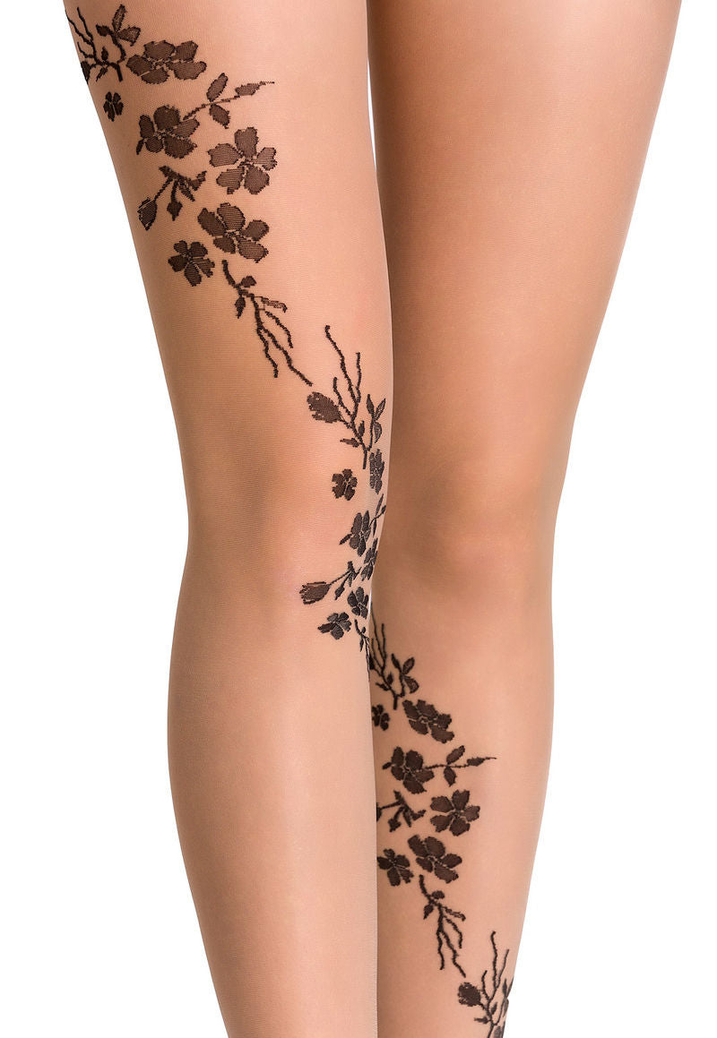 Helen Floral Tattoo Patterned Sheer Tights by Gabriella in nude tan and black