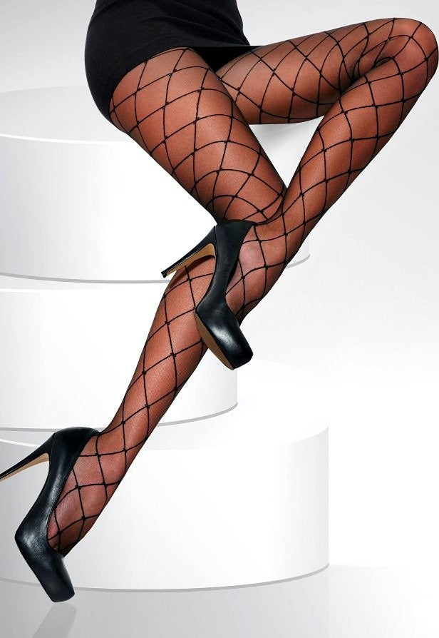 Hera Diamond Patterned Sheer Fashion Tights by Adrian