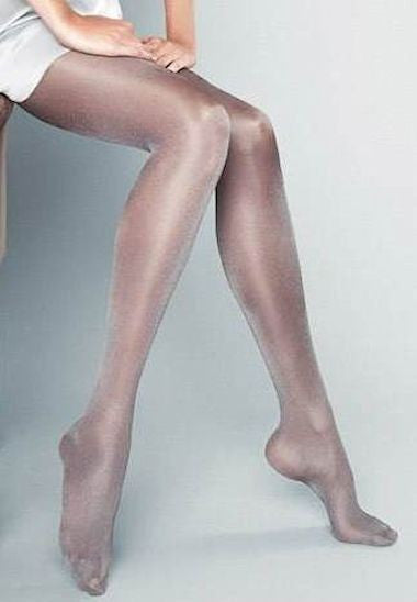Ines Sparkly High Shine Fashion Tights by Veneziana in grey silver