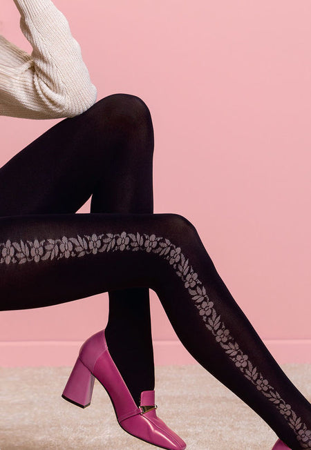 Matilda Diamonds & Dots Patterned Opaque Tights by Fiore