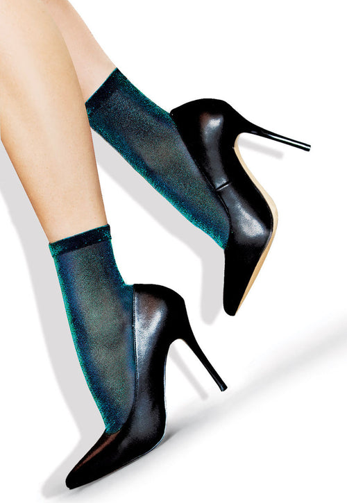 Iridescent Lurex Shimmer Ankle Socks by Lores