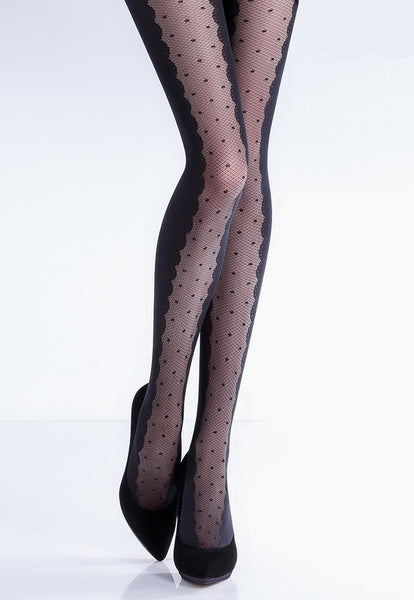 Ivette Polka Dot Lace Front Opaque Tights by Giulia