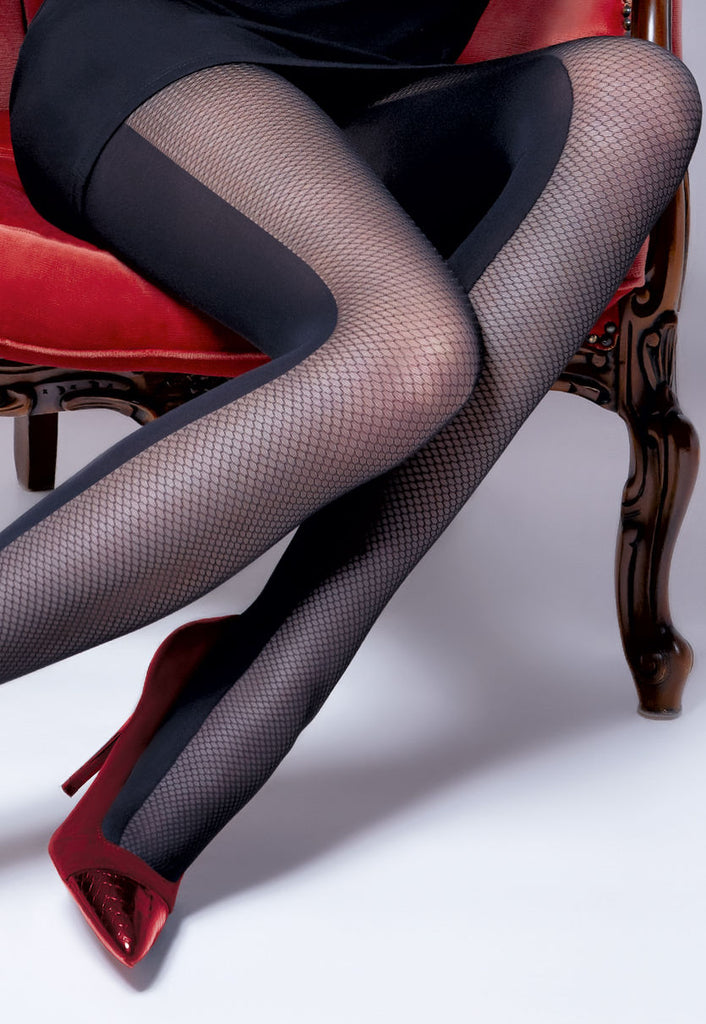 9ecdfec816832b Ivonna 1 Fishnet & Opaque Panelled Patterned Tights at Ireland's Online  Shop – Dress My Legs