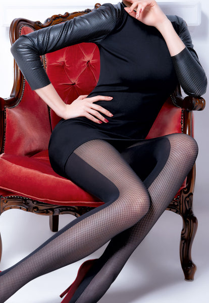 Ivonna 1 Fishnet & Opaque Panelled Tights by Giulia
