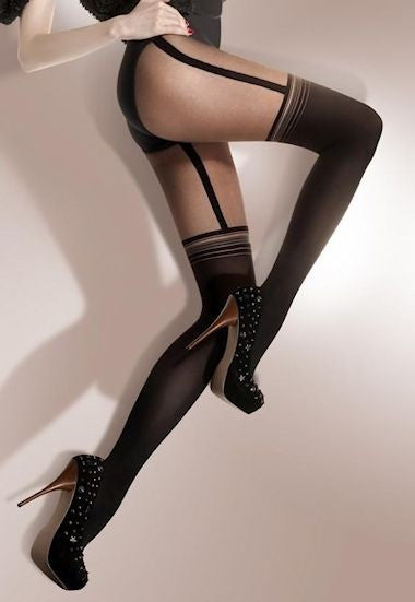 Kate Diamond Patterned Over-Knee Sock Tights with Lurex Stripes by Gabriella