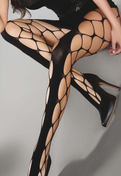 Jeanne Whale Fishnet Tights with Solid Panel by LivCo