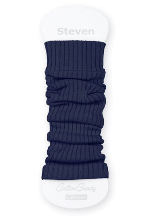 Ribbed Cotton Kids' Leg Warmers by Steven in denim jeans blue
