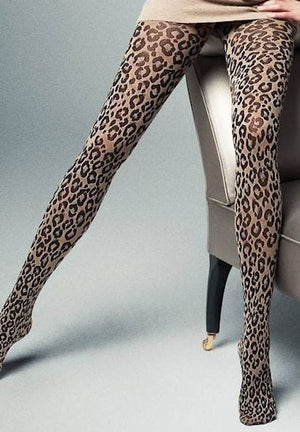 Jovanna Leopard Animal Print Tights by Veneziana