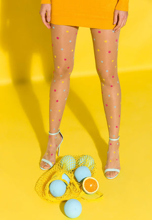 Joy Colourful Polka Dot Sheer Tights by Gabriella in nude tan