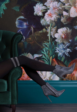 Kate Diamond Patterned Over-Knee Sock Tights with Lurex Stripes by Gabriella in black