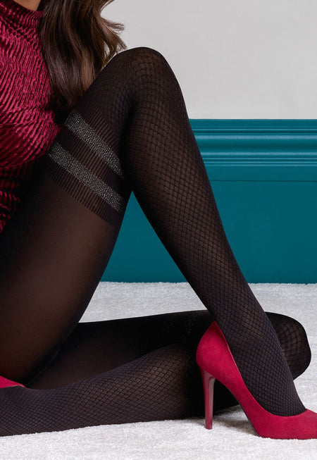 Marietta 150 Den Cotton Check Tights by Veneziana
