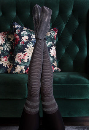 Kate Diamond Patterned Over-Knee Sock Tights with Lurex Stripes by Gabriella in grey