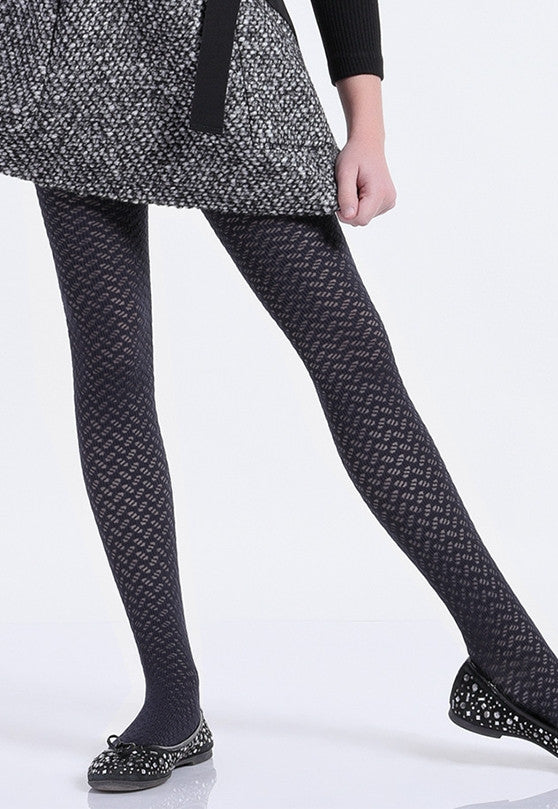 Kelly Herringbone Patterned Lace Girls' Tights by Giulia