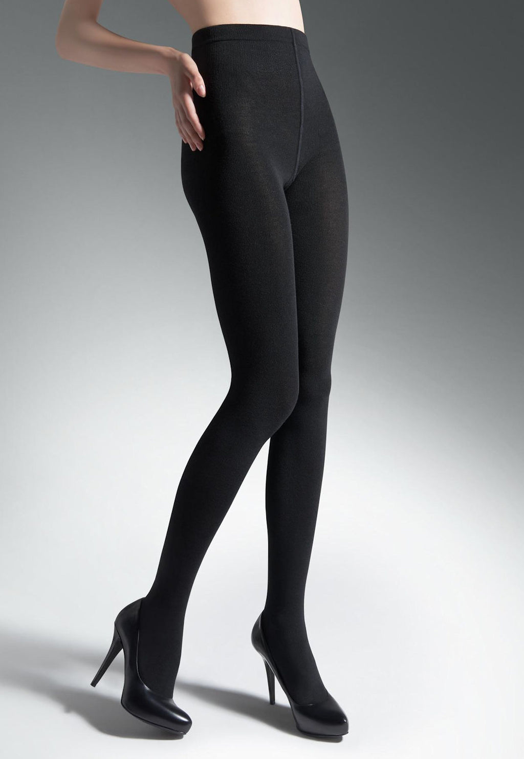Lady Madame Cotton Rich Opaque Tights by Wola in black