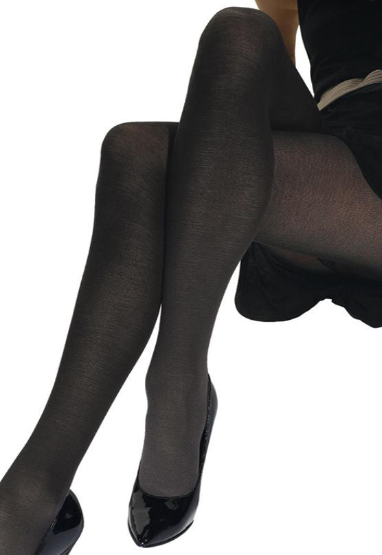 Lastic Lana Light Wool Opaque Tights by Omsa in black