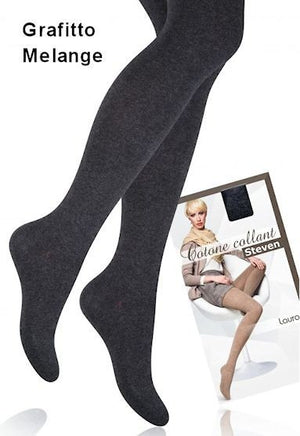 Laura Cotton Rich Opaque Tights in Grafitto Melange