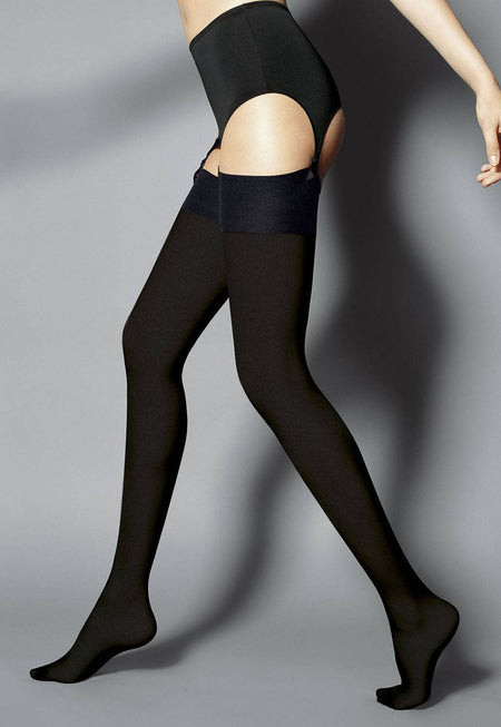 Passion Fishnet Strip Panty Suspender Tights by Fiore