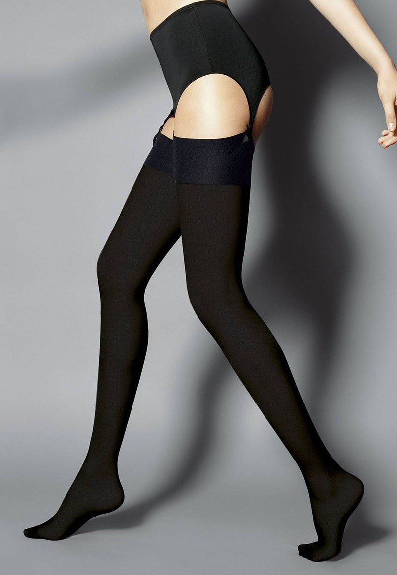 Leila 60 Den Opaque Black Stockings by Veneziana