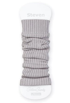 Ribbed Cotton Kids' Leg Warmers by Steven in light grey