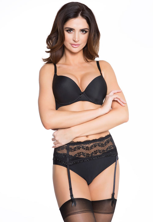 Lilly 4 Straps Floral Lace Black Suspender Belt