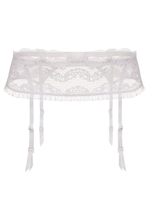 Lilly 4 Straps Floral Lace White Suspender Belt