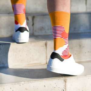 Liquid Blobs Patterned Socks in Orange and Red by More