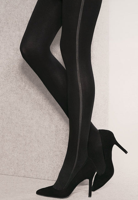 Brenda Opaque Tights with Side Baroque Design by Gabriella