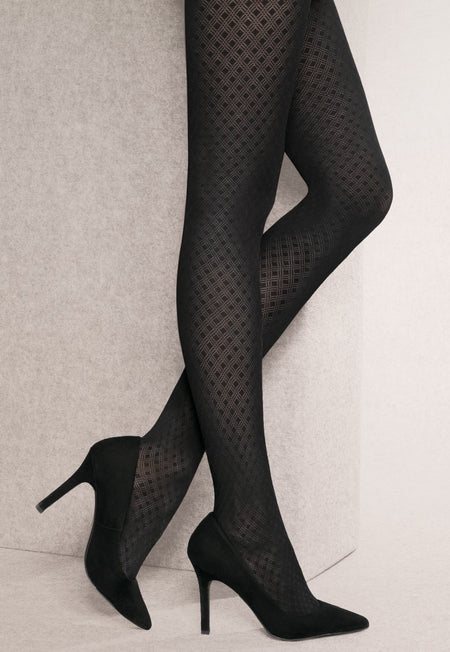 City Jungle Python Snake Patterned Opaque Tights by Fiore
