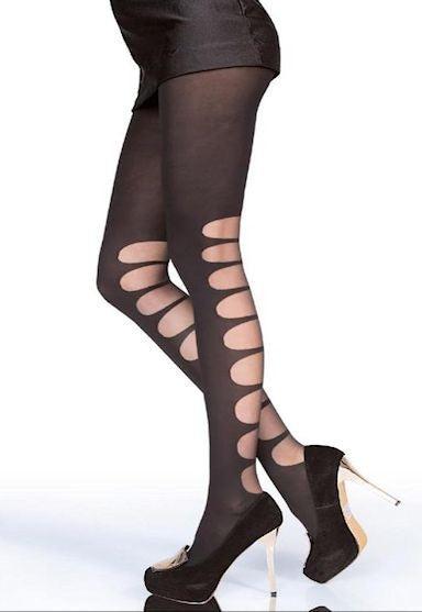 Lorraine Bondage Straps Opaque Tights by Fiore in Black