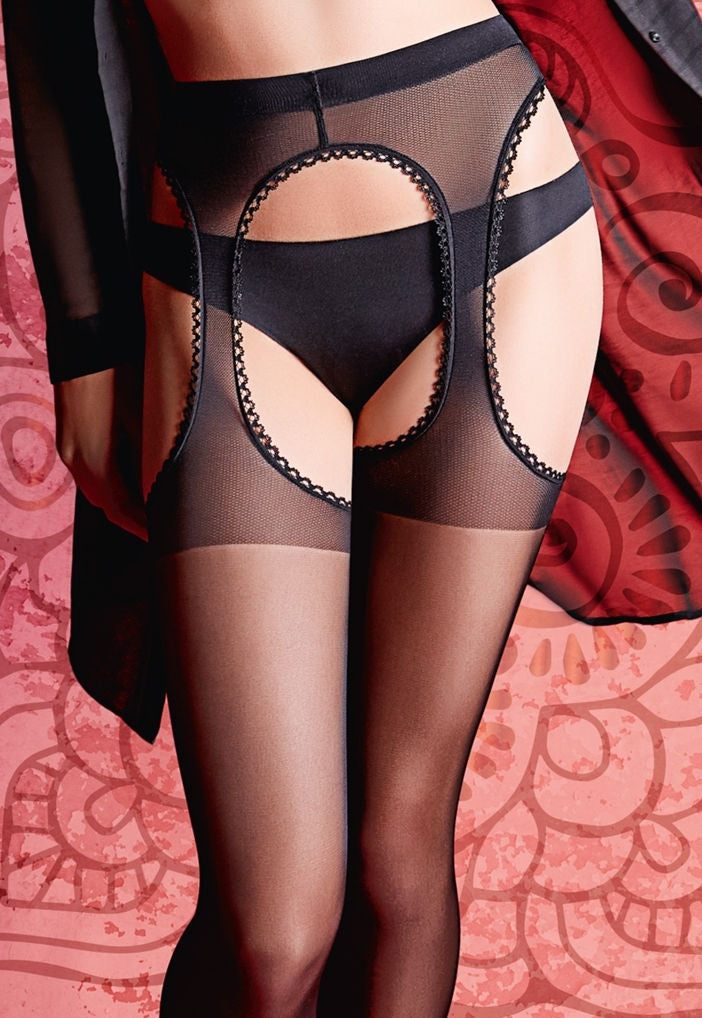 Love Strip Panty Sheer Suspender Tights by Giulia in black