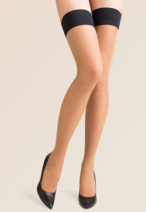 Lovia Contrast Welt Sheer Hold-Ups by Gabriella in nude tan with black