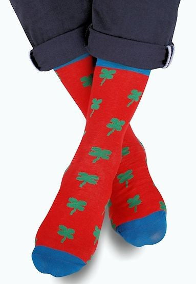 Lucky Shamrock Patterned Socks by More in Red, Green, Teal