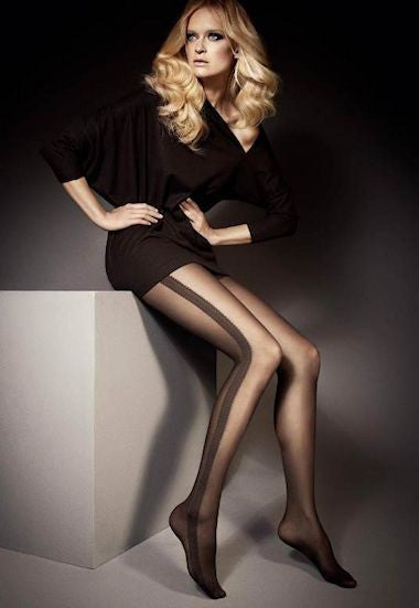 Lucy Side Stripe Patterned Sheer Tights by Veneziana