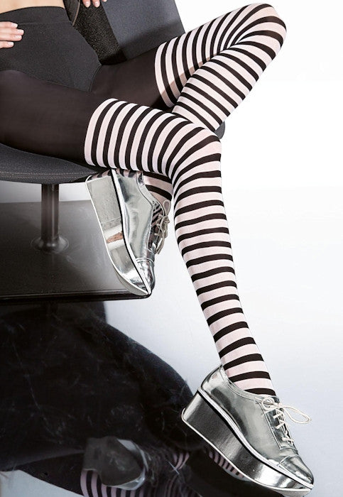 Madisa Black & White Striped Over-Knee Tights by Fiore