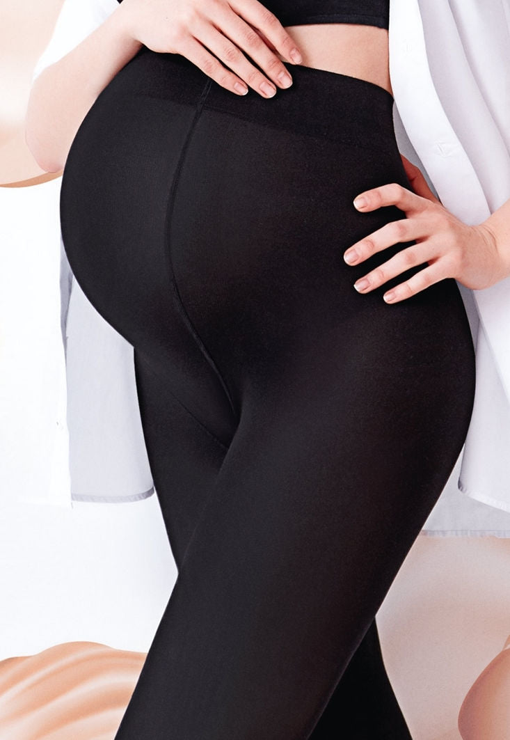 Mama 200 Denier Cotton Maternity Tights by Giulia in black