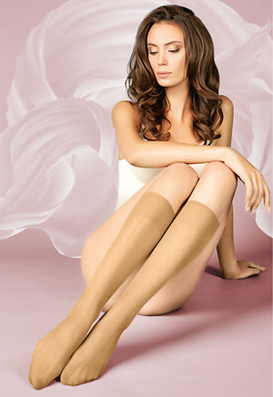Marea 40 Den Comfort Top Sheer Knee-Highs by Giulia (2 Pairs) in nude tan
